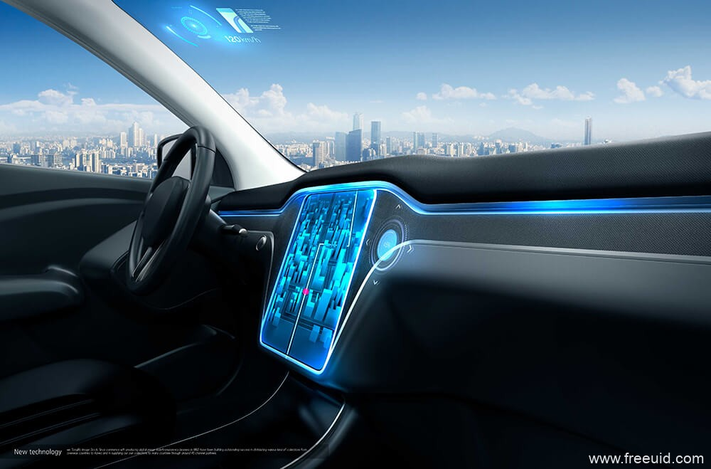 车机系统UI展示mockup样机模板,汽车HMI 界面展示样机psd源文件3