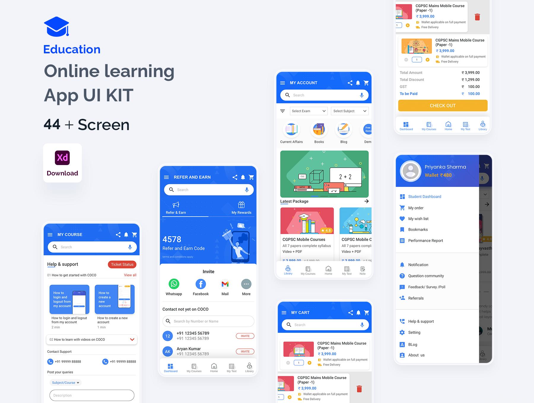 在线教育APP UI界面设计,在线学习UI源文件下载,教育app ui资源下载xd源文件