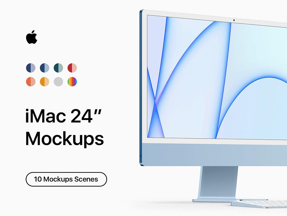最新款iMac电脑样机模板psd源文件下载,iMac电脑mockup样机素材