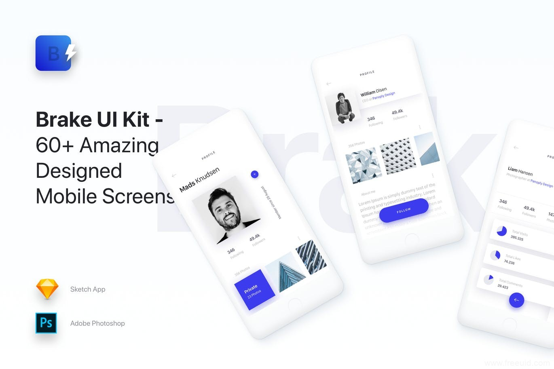 material design风格UI界面模板下载,MD风格设计师app UI源文件,设计作品展示APP UI资源下载