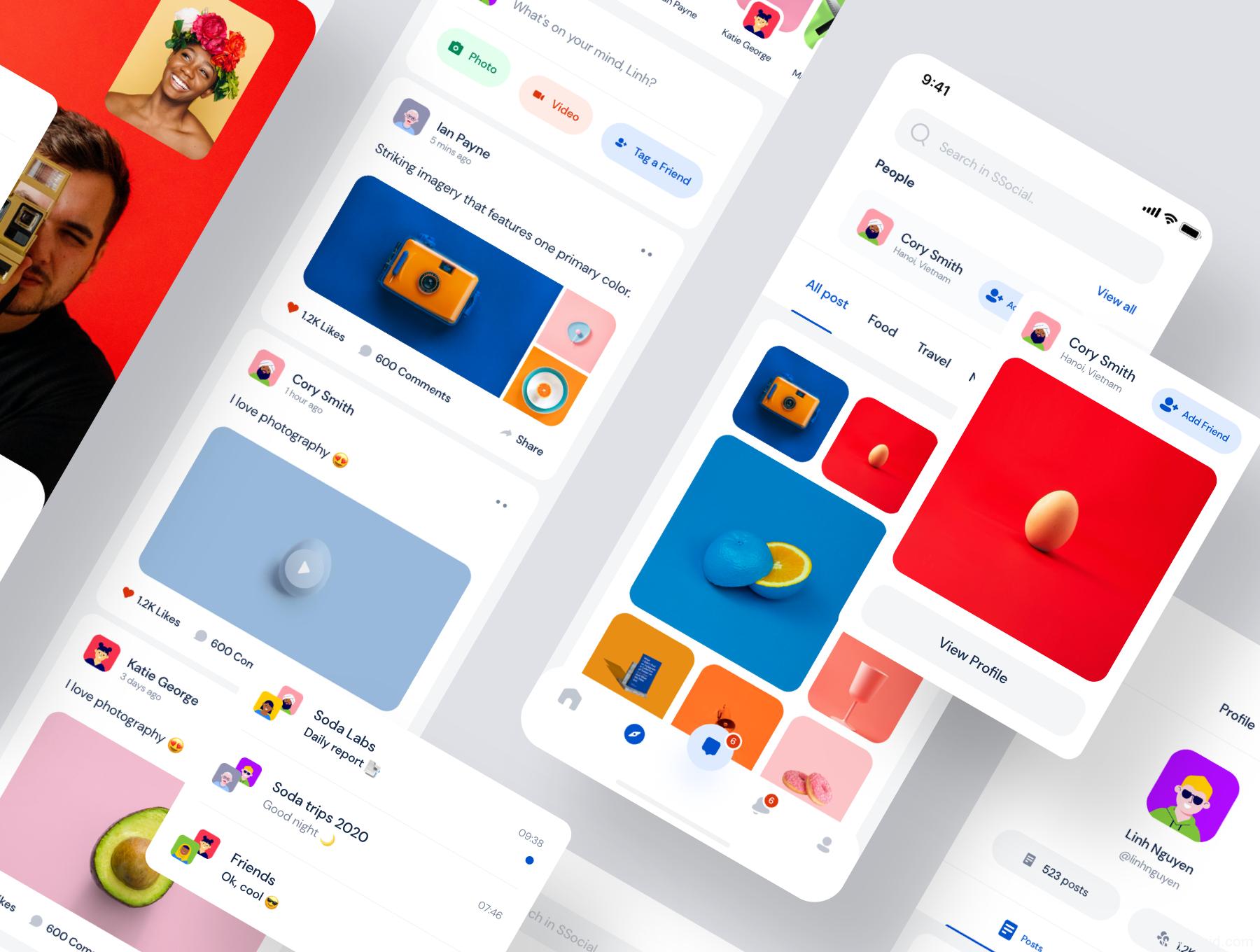 高质量社交平台app UI源文件下载,图片社交app UI设计资源下载,社交app sketch源文件下载