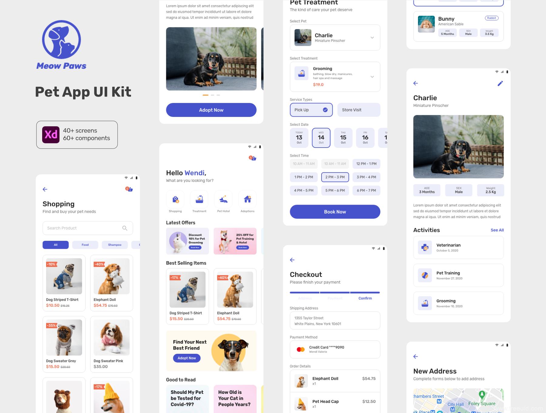 一套宠物社区+宠物电商app ui源文件下载,宠物app ui资源下载xd源文件