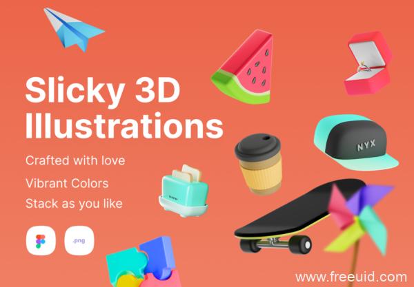 一组时尚元素3D插画素材下载,潮文化元素3D插画资源下载