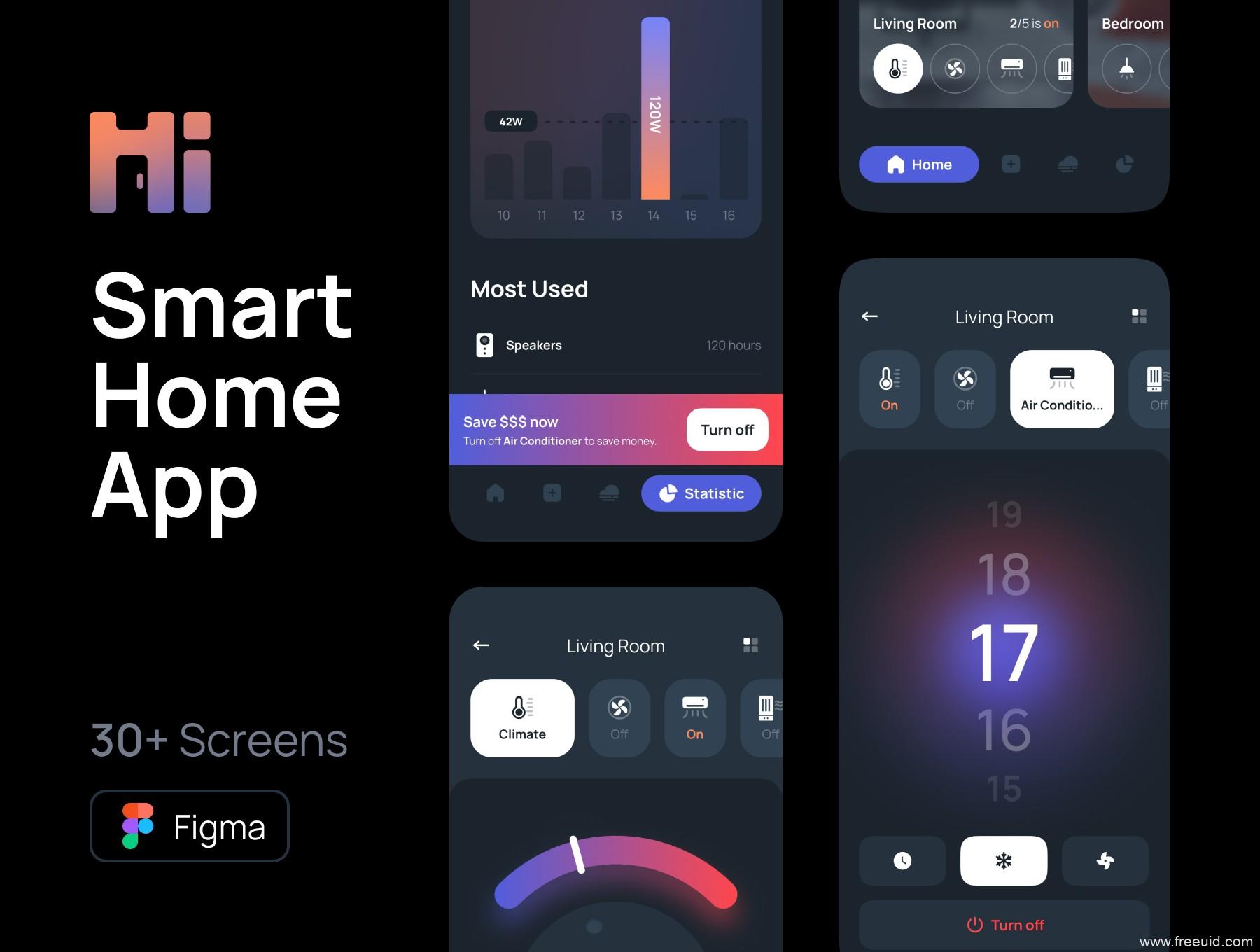 最新智能家居app ui源文件下载,酷黑风格智能家庭app ui素材下载