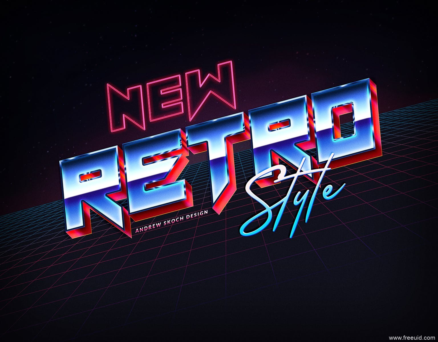 80年代复古风格3D立体字体特效文本样式,PS复古风3D酸性风格字体样式下载