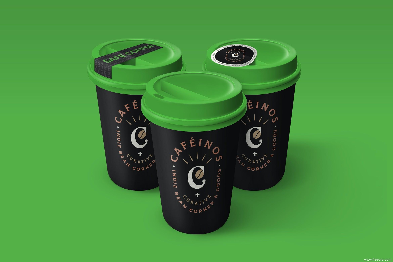 高级咖啡杯展示样机psd源文件,一次性纸杯平面样机,安全密封贴纸咖啡杯包装设计样机