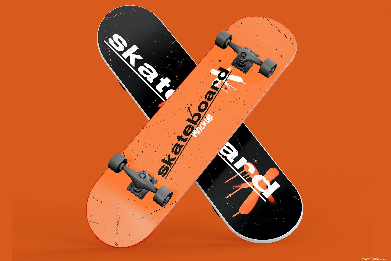 潮流运动滑板交叉摆设演示样机psd源文件,滑板mockup样机psd模板