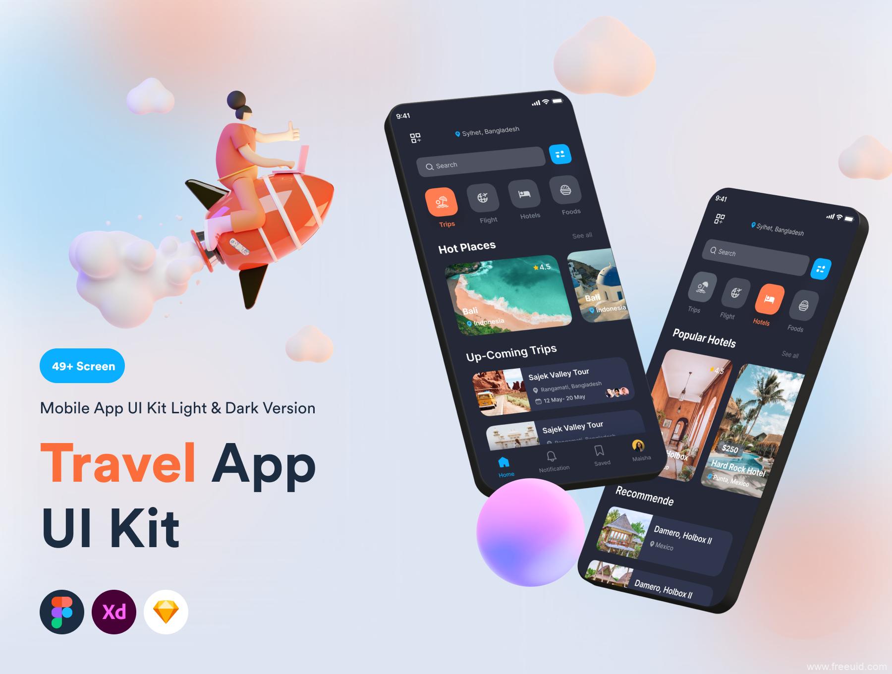 最新旅游app ui设计源文件下载,旅行app ui源文件下载,旅游app ui kit素材xd、sketch、fig源文件