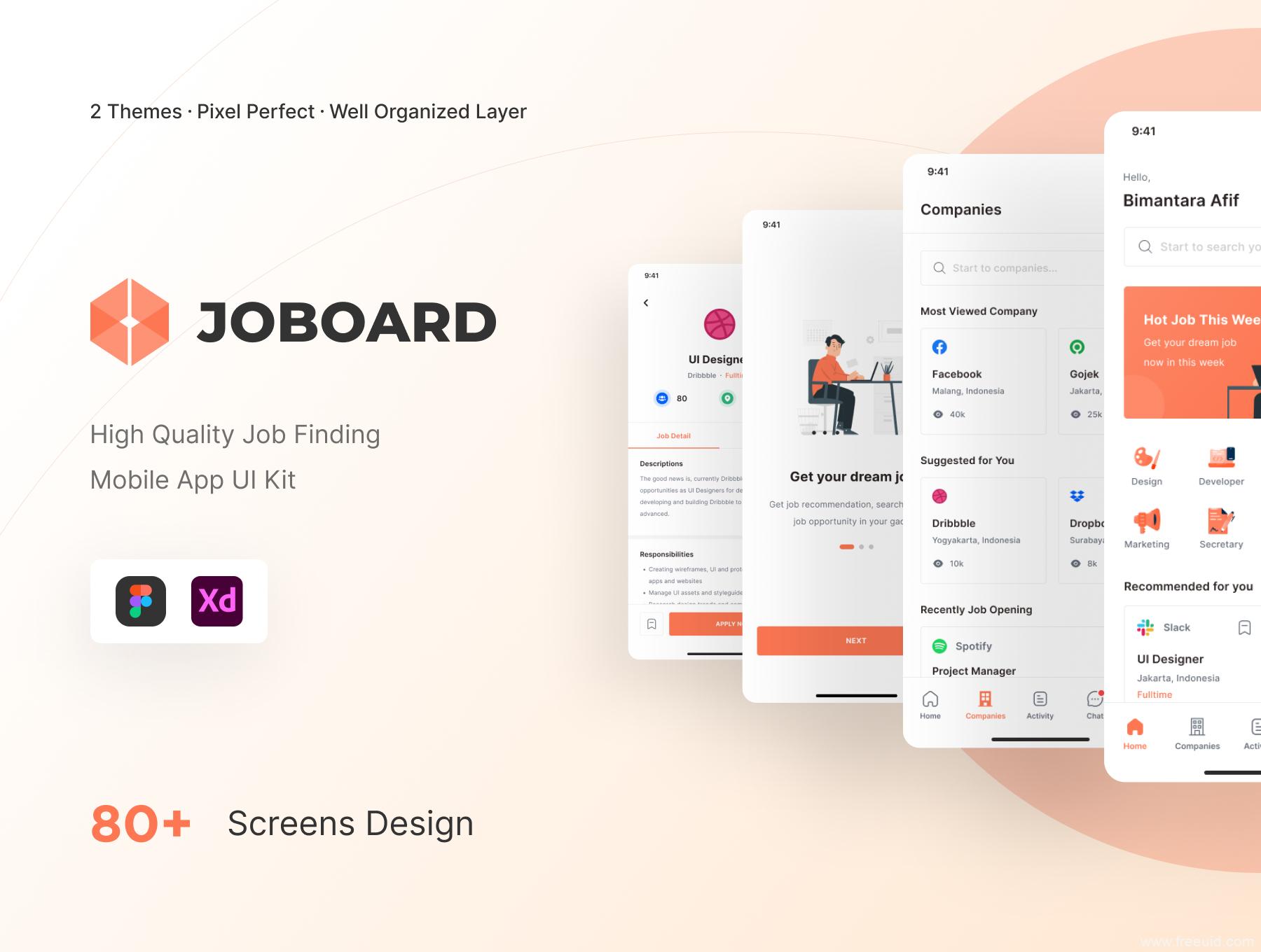 一套亮色与暗色双模式在线求职app ui源文件下载,招聘app ui资源,找工作app ui素材xd源文件下载
