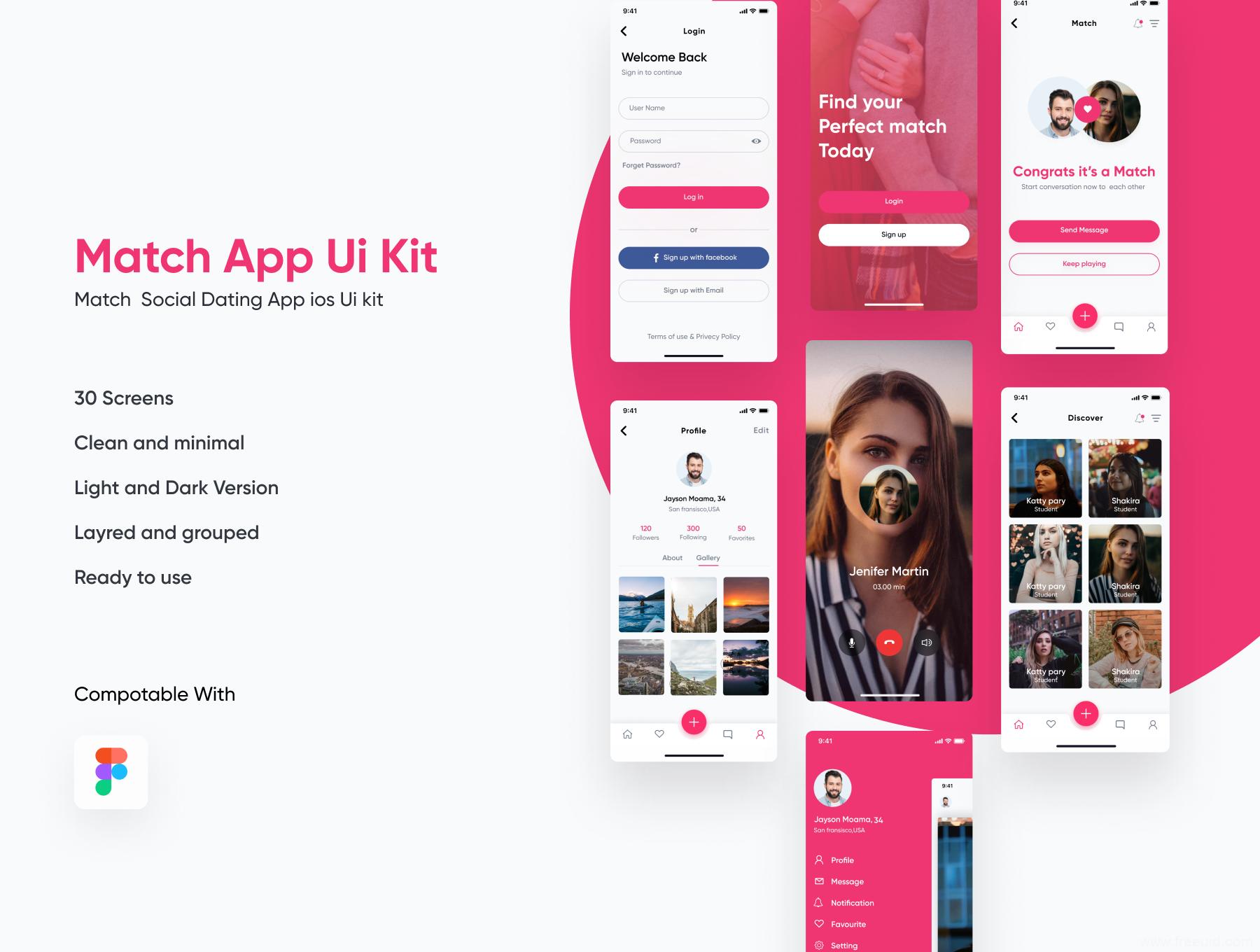 社交app ui源文件下载,陌生人约会app ui资源素材下载