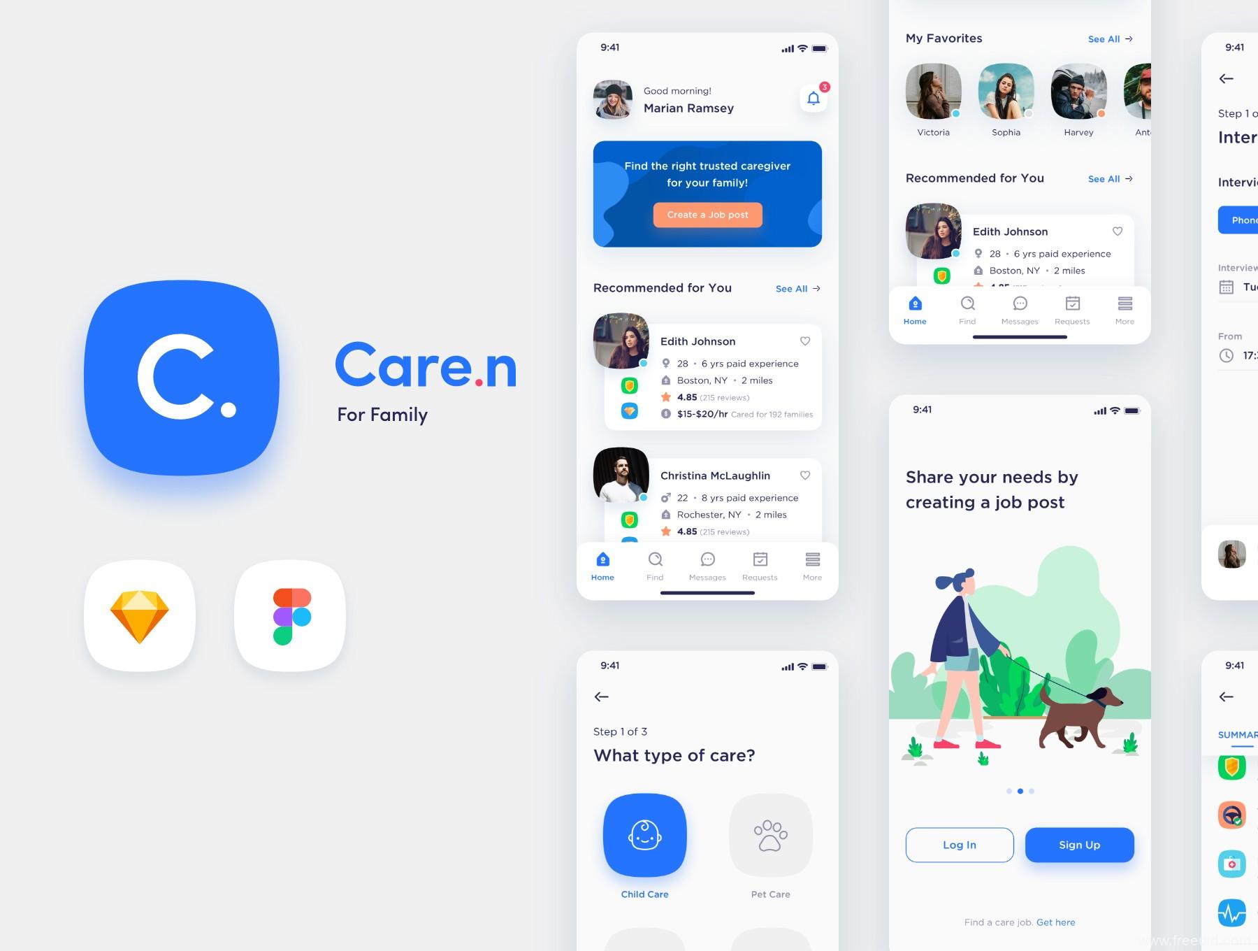 一套个性鲜明的社区护工平台app ui源文件下载,社区招聘app ui素材资源sketch源文件下载