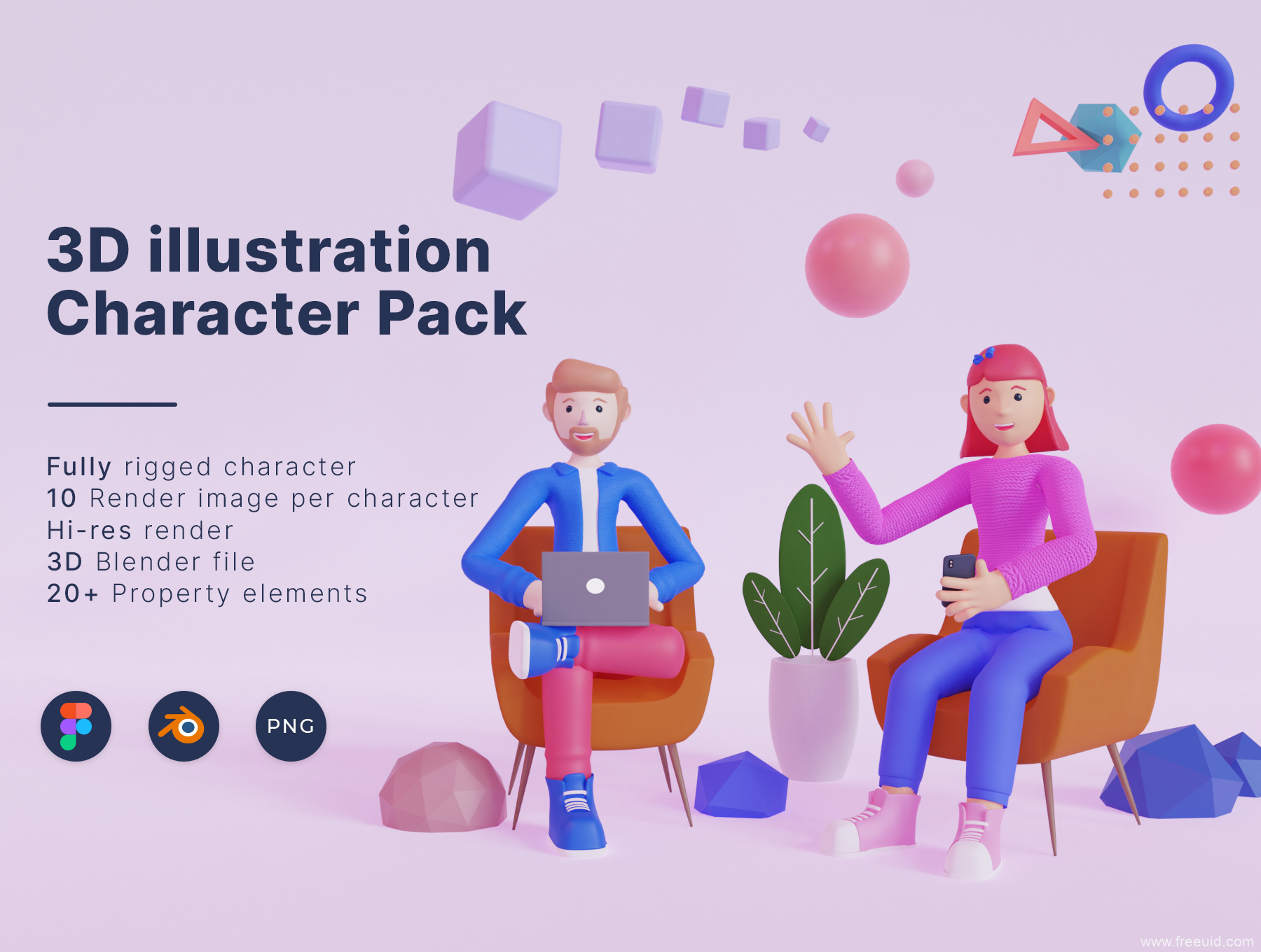 又一套3D人物角色源文件下载,3d人物角色插画运营设计资源包
