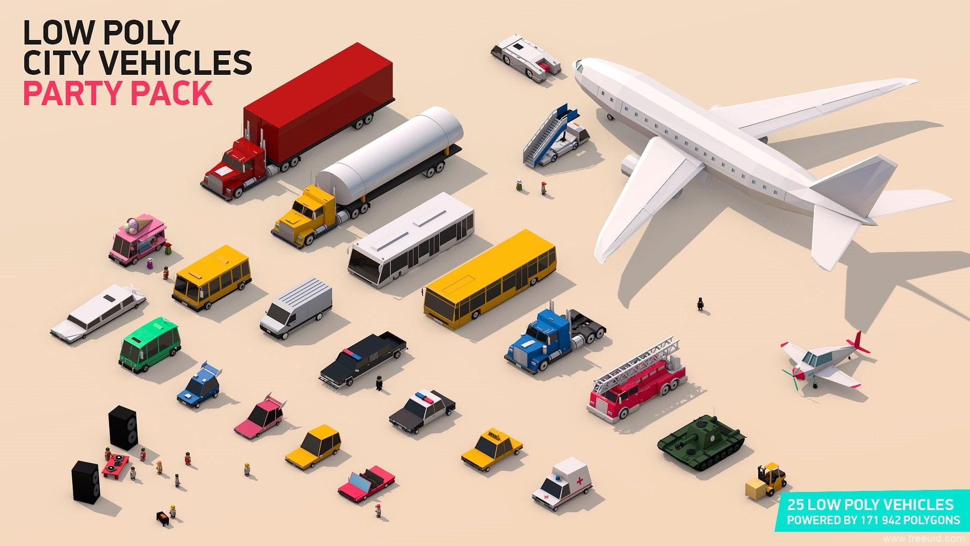 一组低面多边形的汽车交通工具3D模型素材,lowpoly风格交通工具源文件[PSD,C4D,3DS,OBJ]