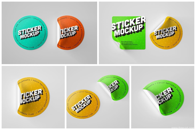 圆形品牌标签设计贴纸样机mockup源文件