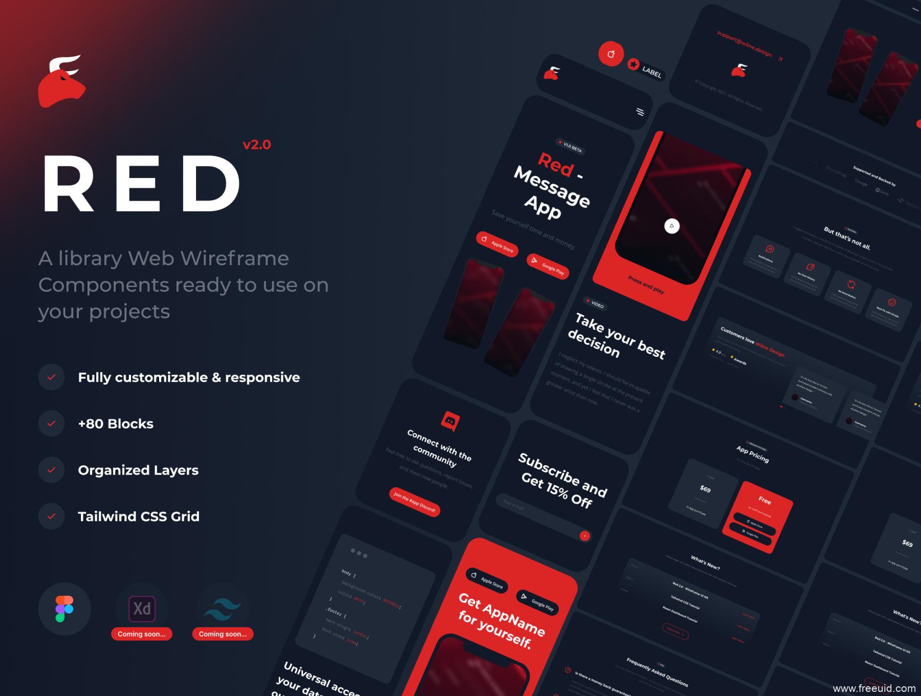 一套暗色系+红色超级网页线框图,web原型图UI kit套件figma源文件下载