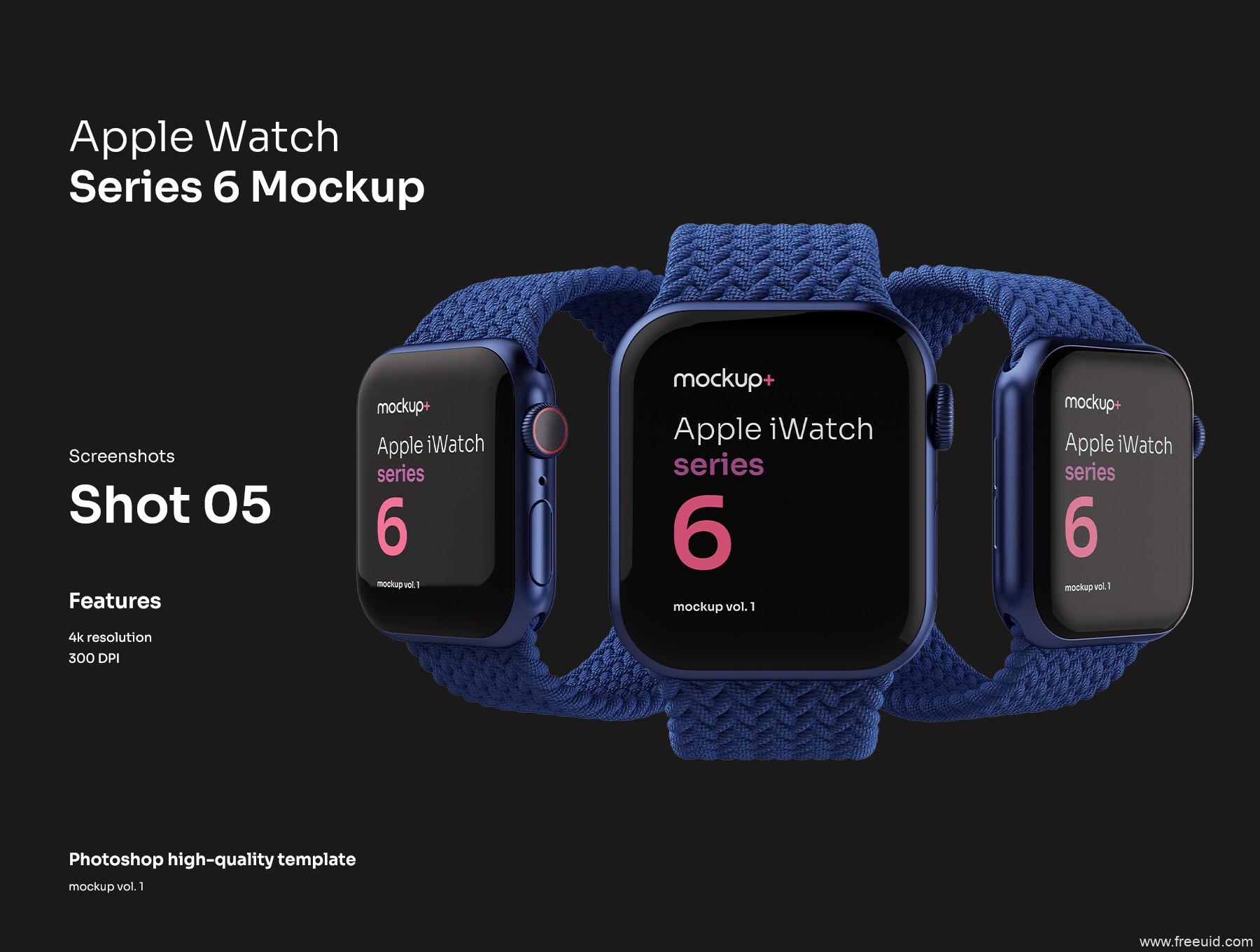 Apple Watch Series 6苹果智能手表高品质样机,Apple watch样机mockup psd源文件下载