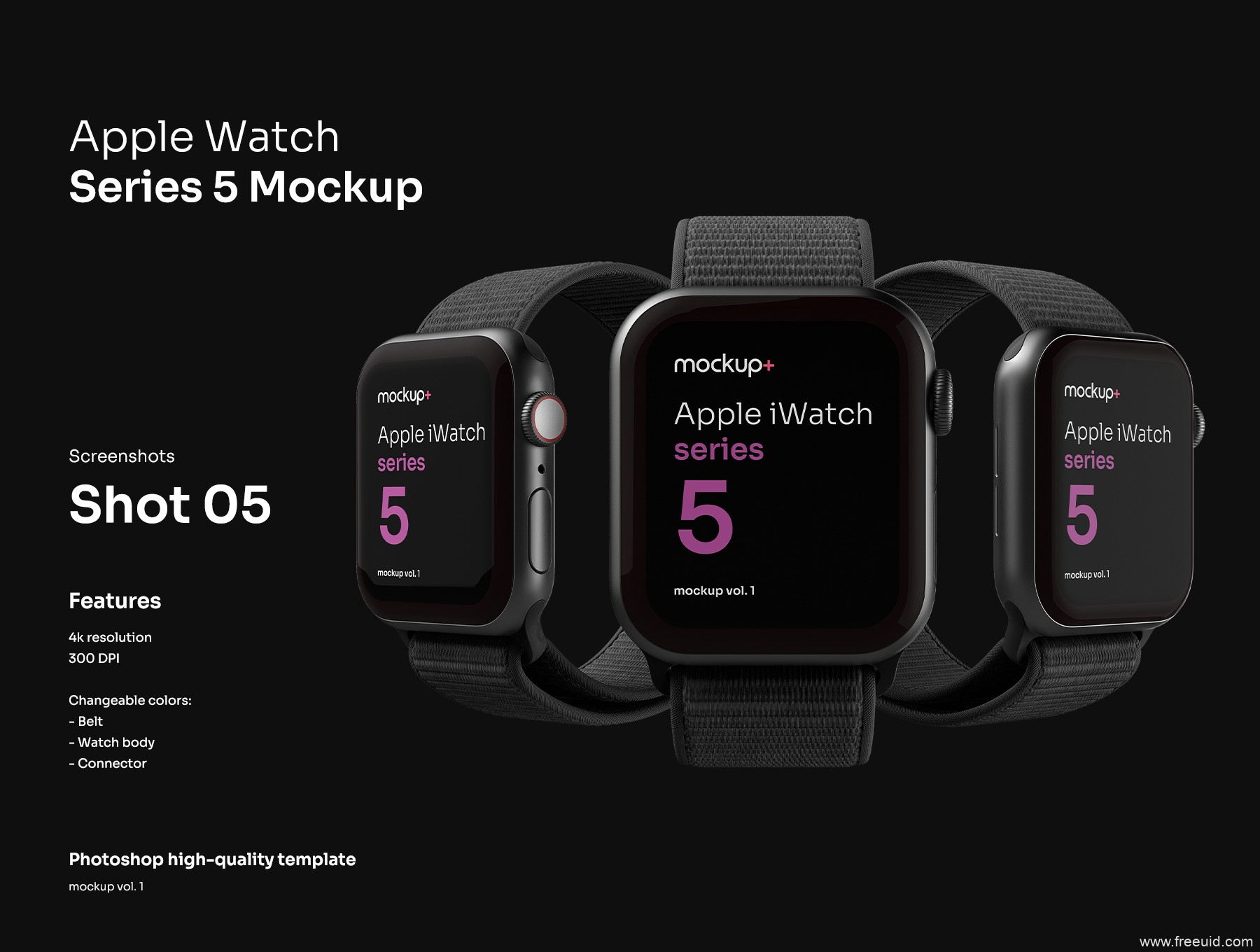 Apple Watch Series 5苹果智能手表高品质样机,Apple watch样机mockup psd源文件下载