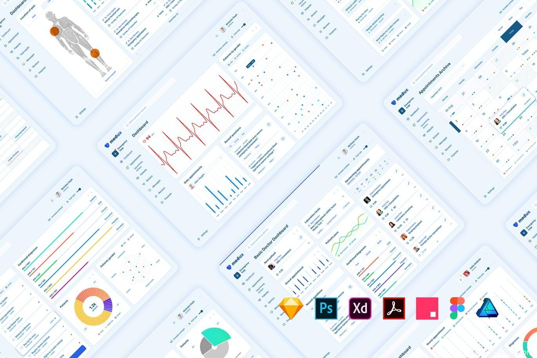 数据可视化物联网B端医疗数据看板UI源文件,数据可视化B端后台,医疗物联网后台dashboard UI素材