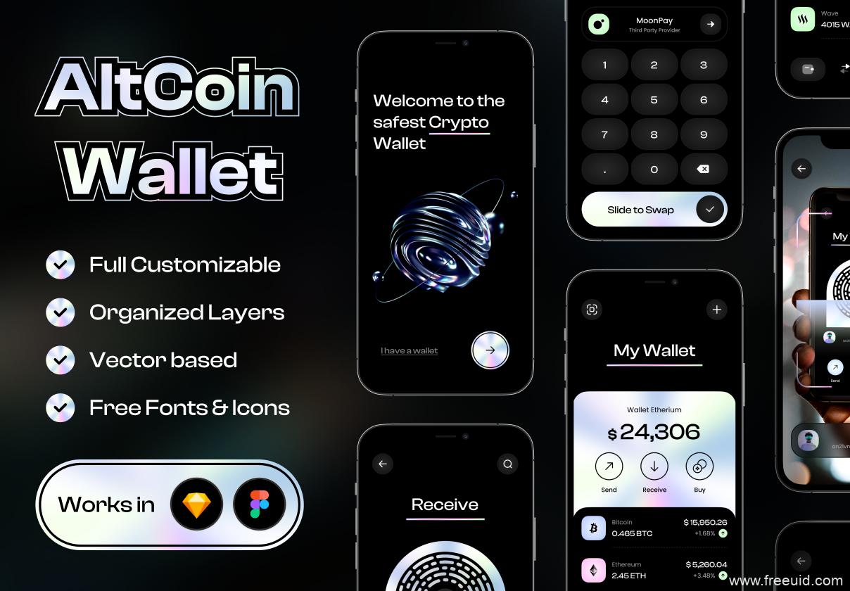 最新加密货币app UI设计源文件,酸性设计风的银行app UI素材下载