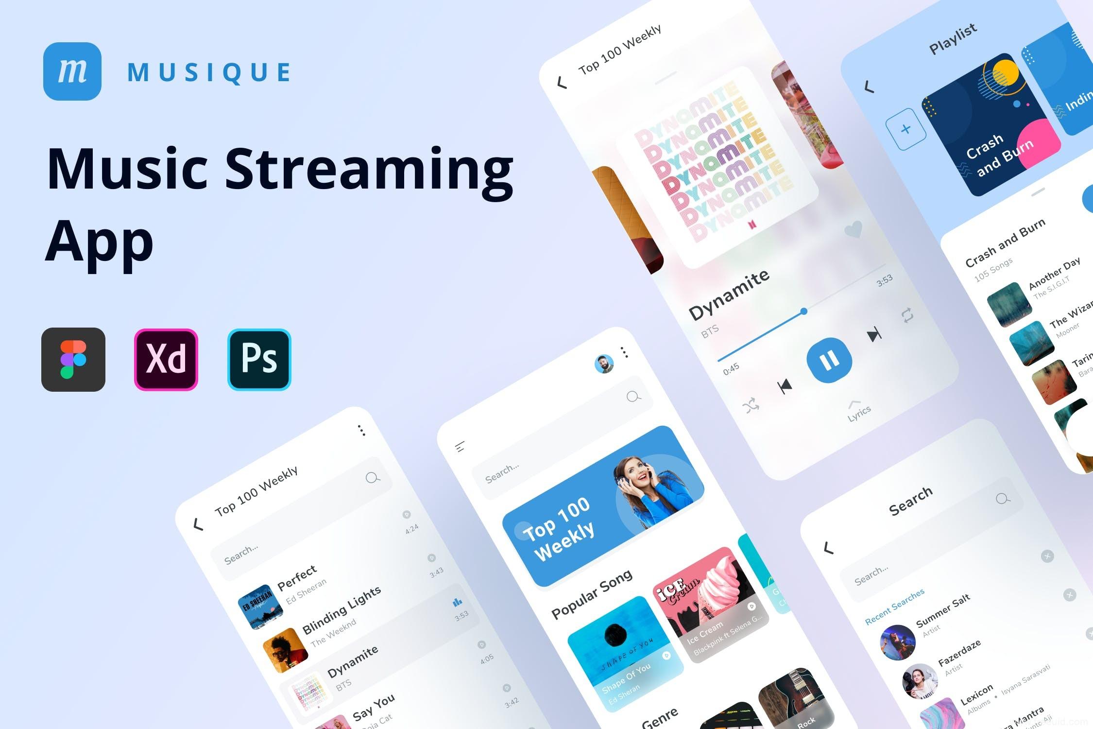 小清新风格音乐app UI源文件,音乐流媒体、音乐播客app UI资源素材psd、xd、fig源文件