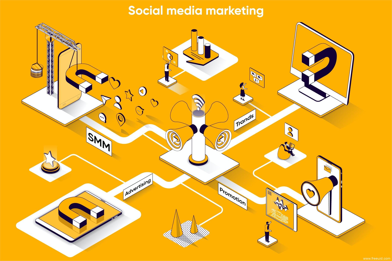社交媒体市场营销2.5D等距场景Web插画矢量素材