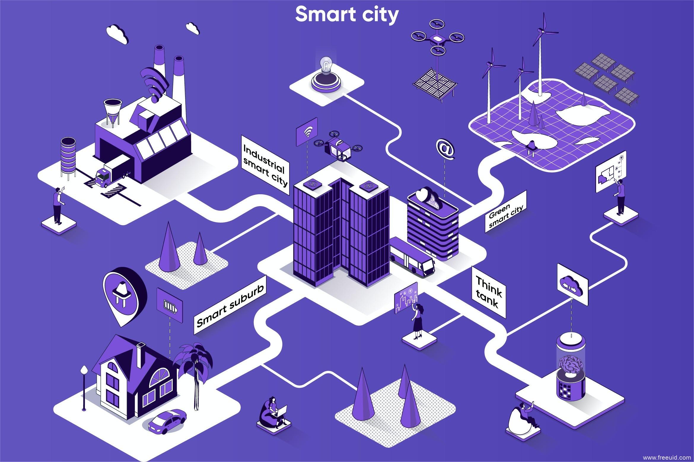 智慧城市2.5D等距场景运营插画源文件,2.5D插画Web插画矢量素材