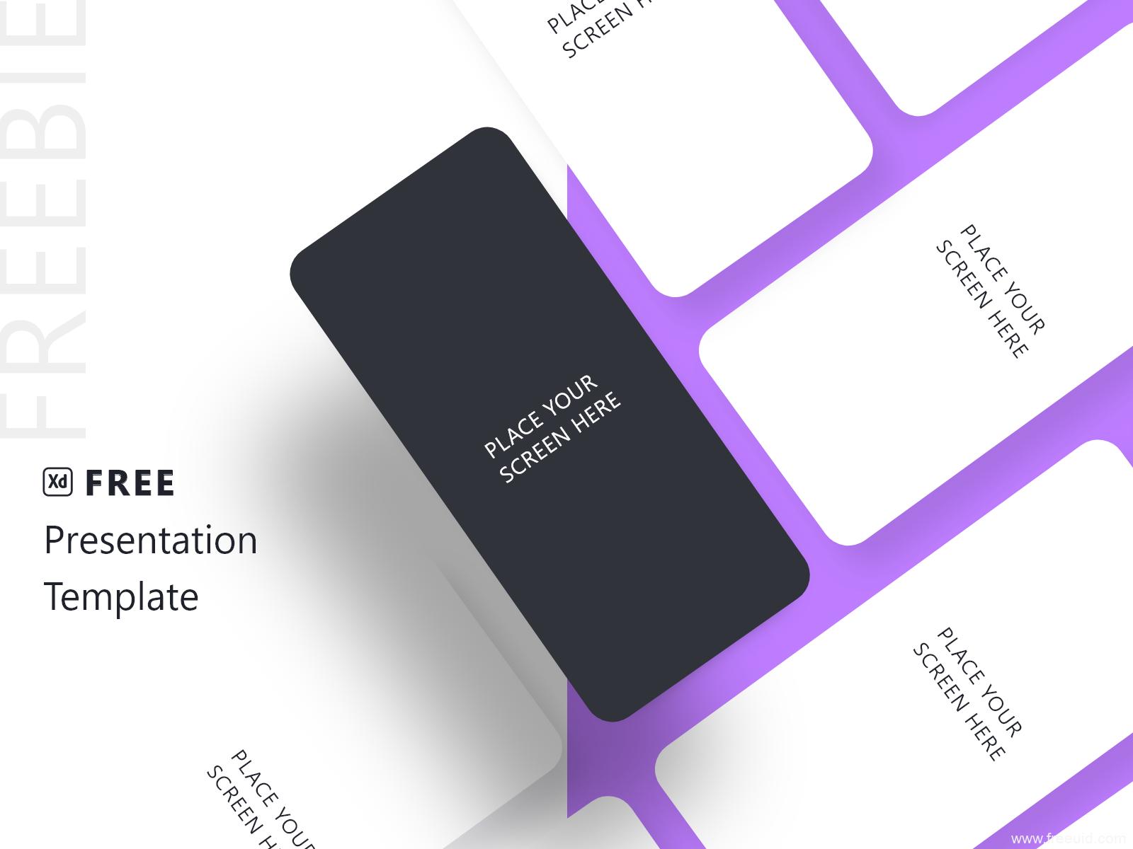 免费UI作品展示样机mockup,简约线框手机样机xd源文件下载