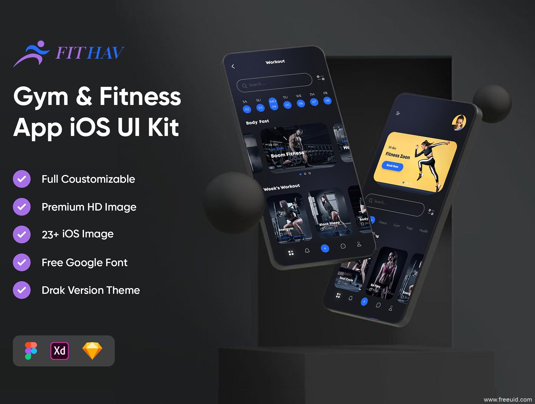 一套酷黑健身产品UI设计资源,健身app UI资源素材,健身房应用UI界面设计源文件