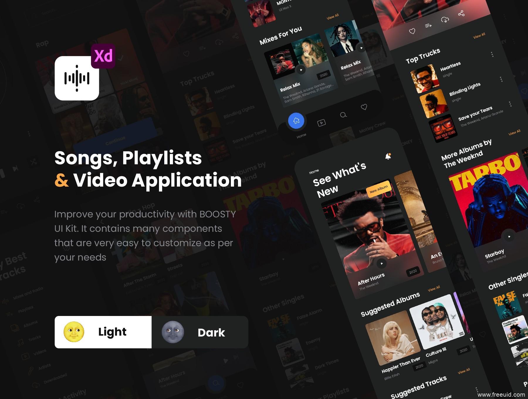 酷炫的音乐app UI设计源文件,音乐、短视频UI资源,音乐app UI素材下载xd源文件