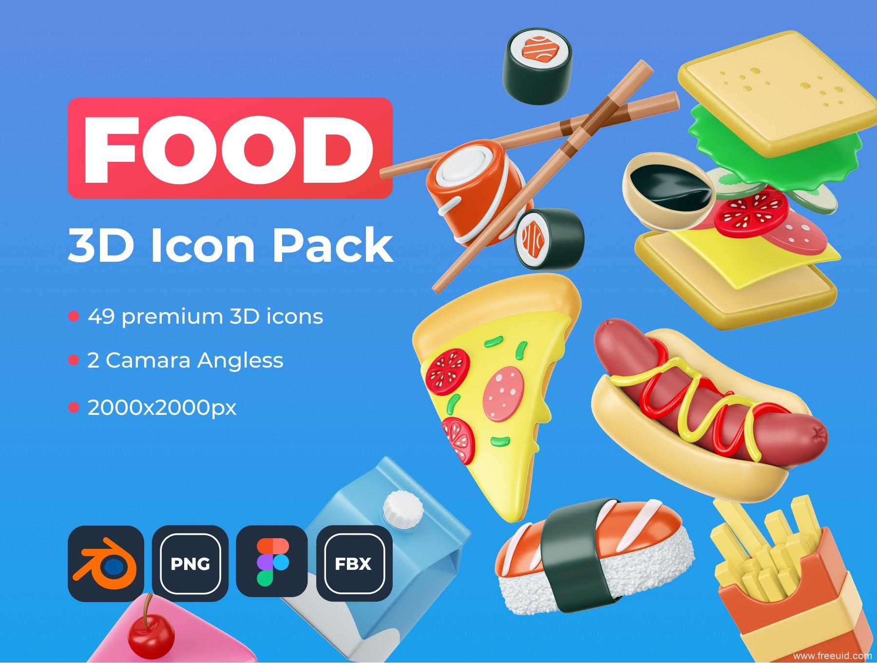 1.6G美食3d模型素材,美食运营3D插画、美食3D源文件素材下载