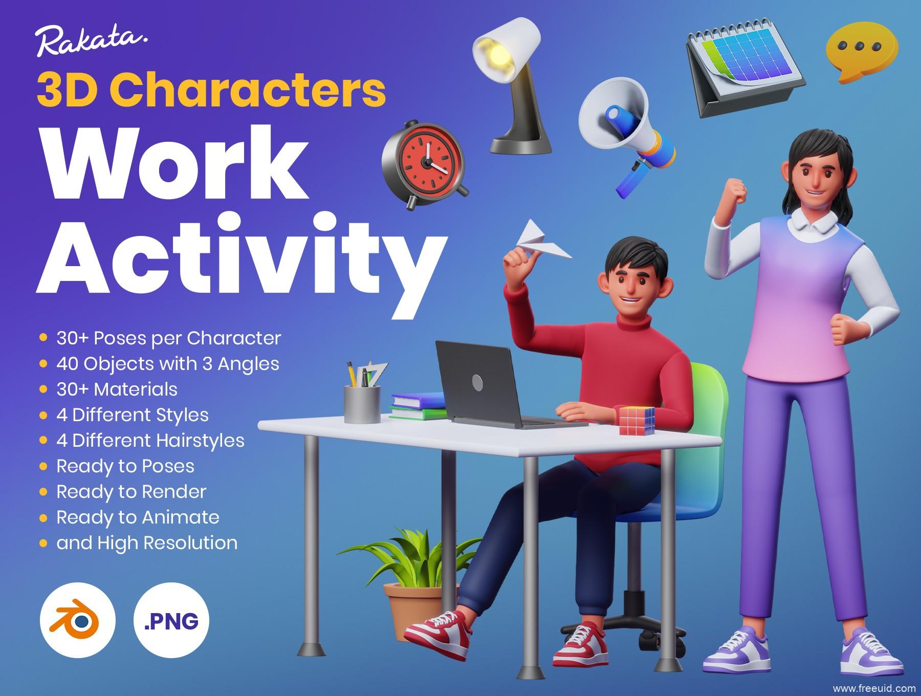 一套商务办公活动场景人物角色3D运营组件库blend源文件下载