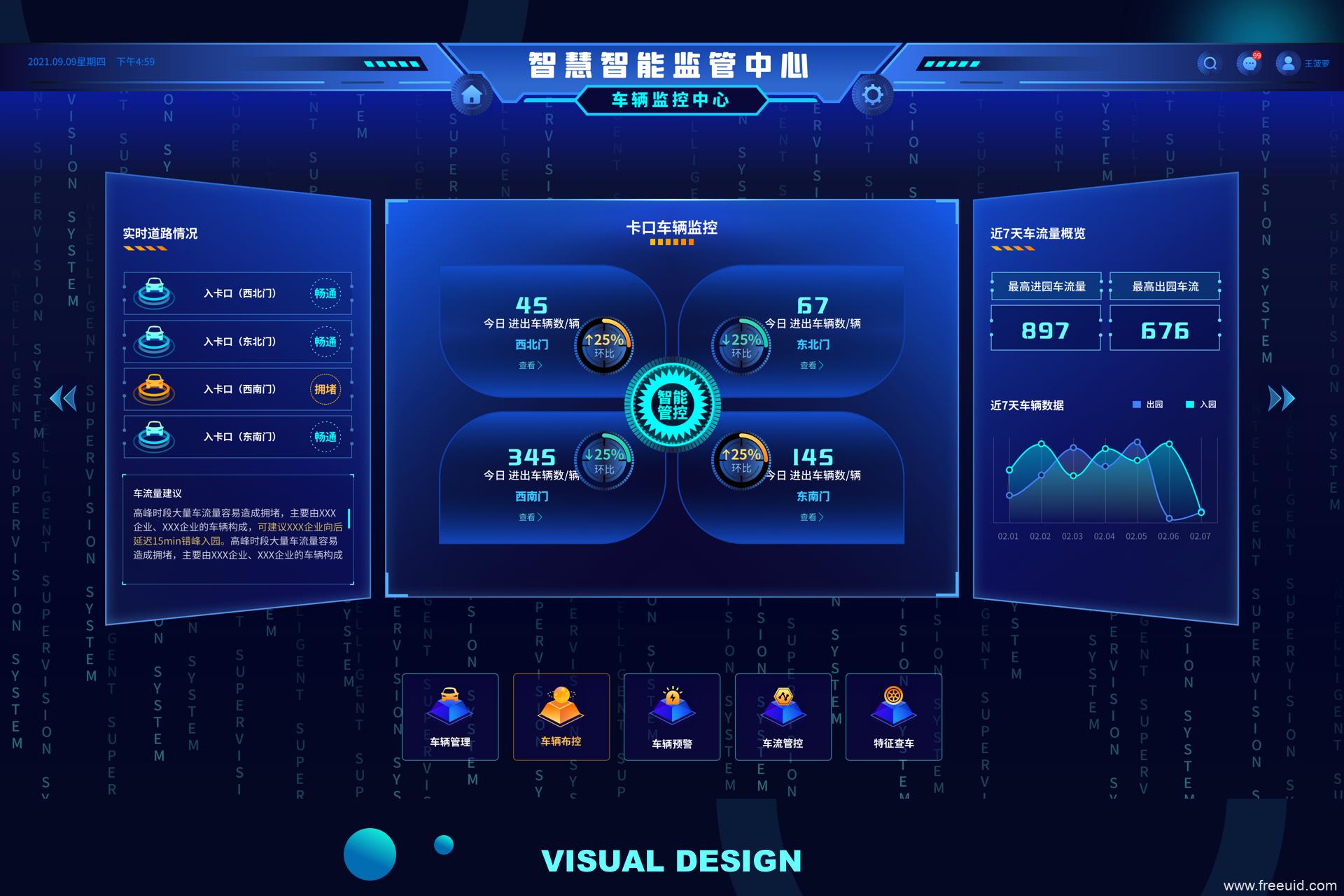 大数据可视化蓝色科技智慧预警大屏后台统计