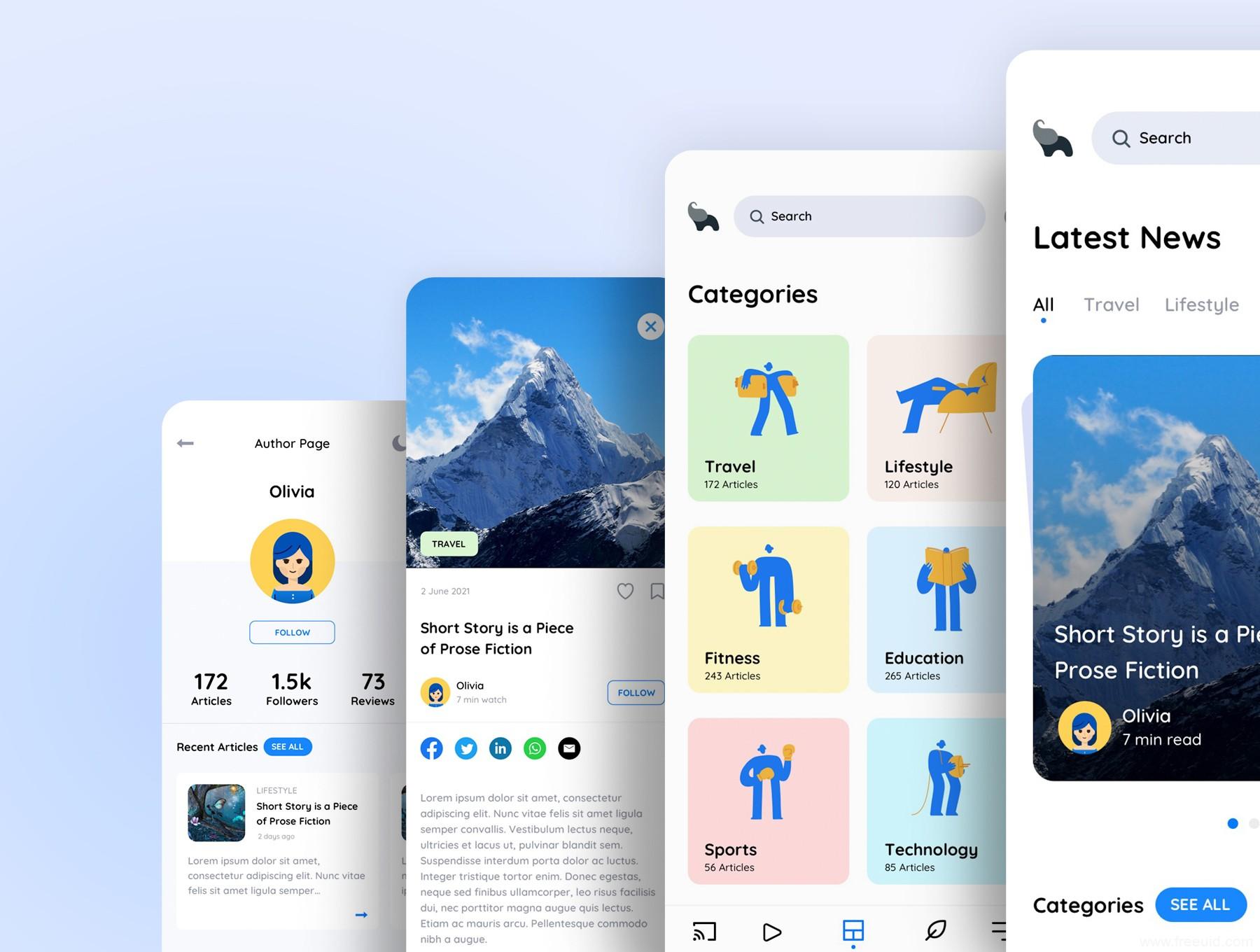 轻量的新闻阅读与内容发布个人自媒体应用app UI界面设计sketch源文件