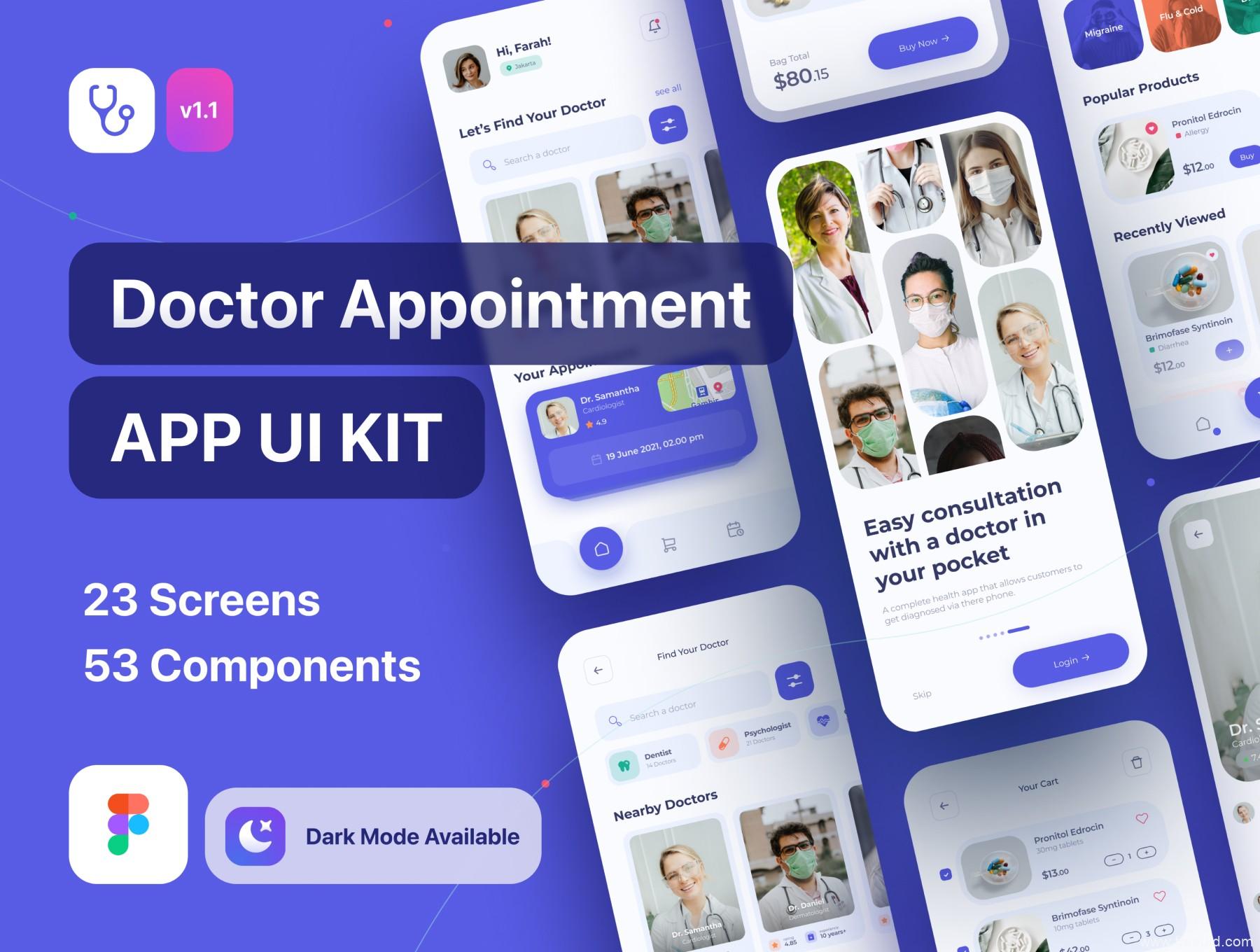 一套在线医疗app UI界面设计fig源文件,在线医生问诊UI设计资源素材