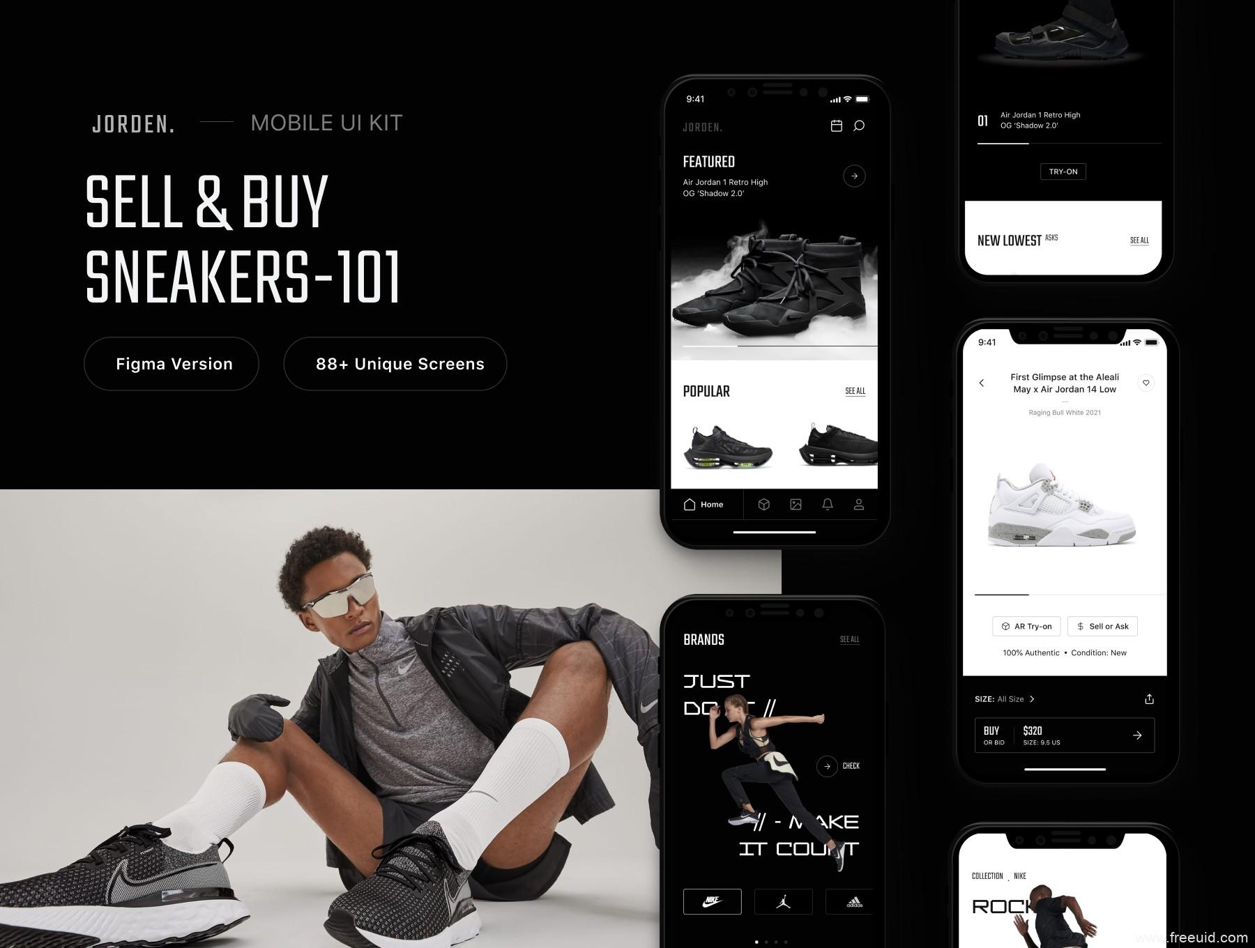 一套酷炫潮牌运动鞋电商app UI界面设计figma源文件UI资源素材