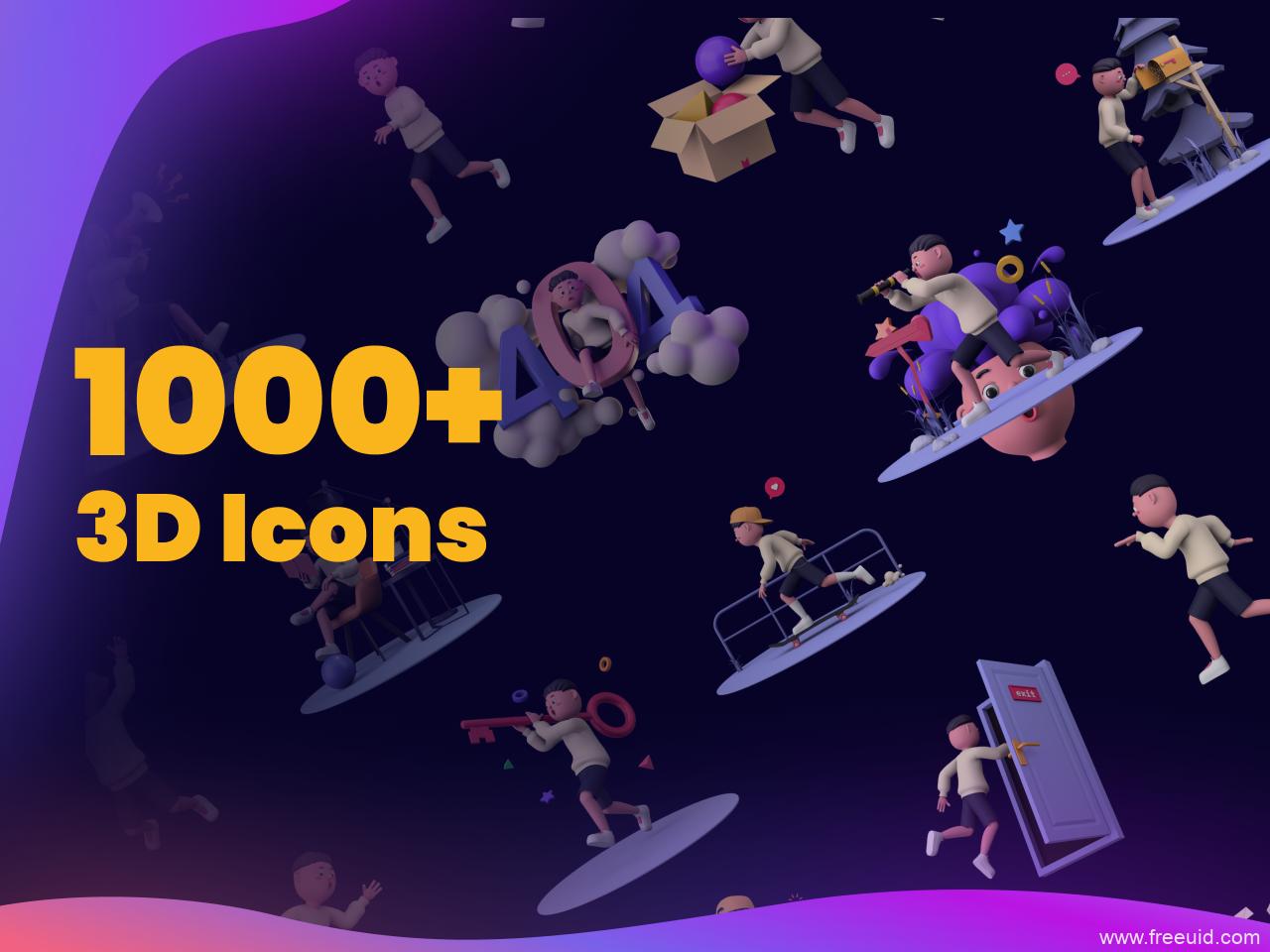 1000个3D插画人物角色、手势、icon图标、道具素材figma源文件下载