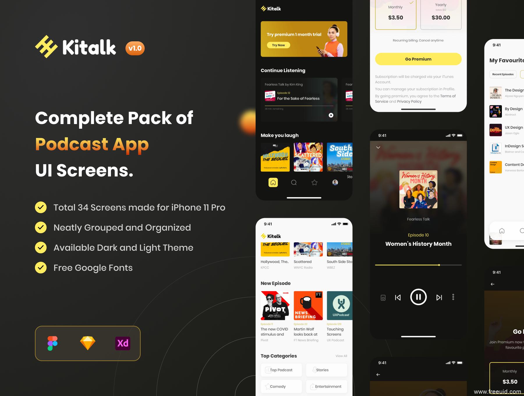 一套轻量简约的网络播客app ui设计sketch、figma、xd源文件