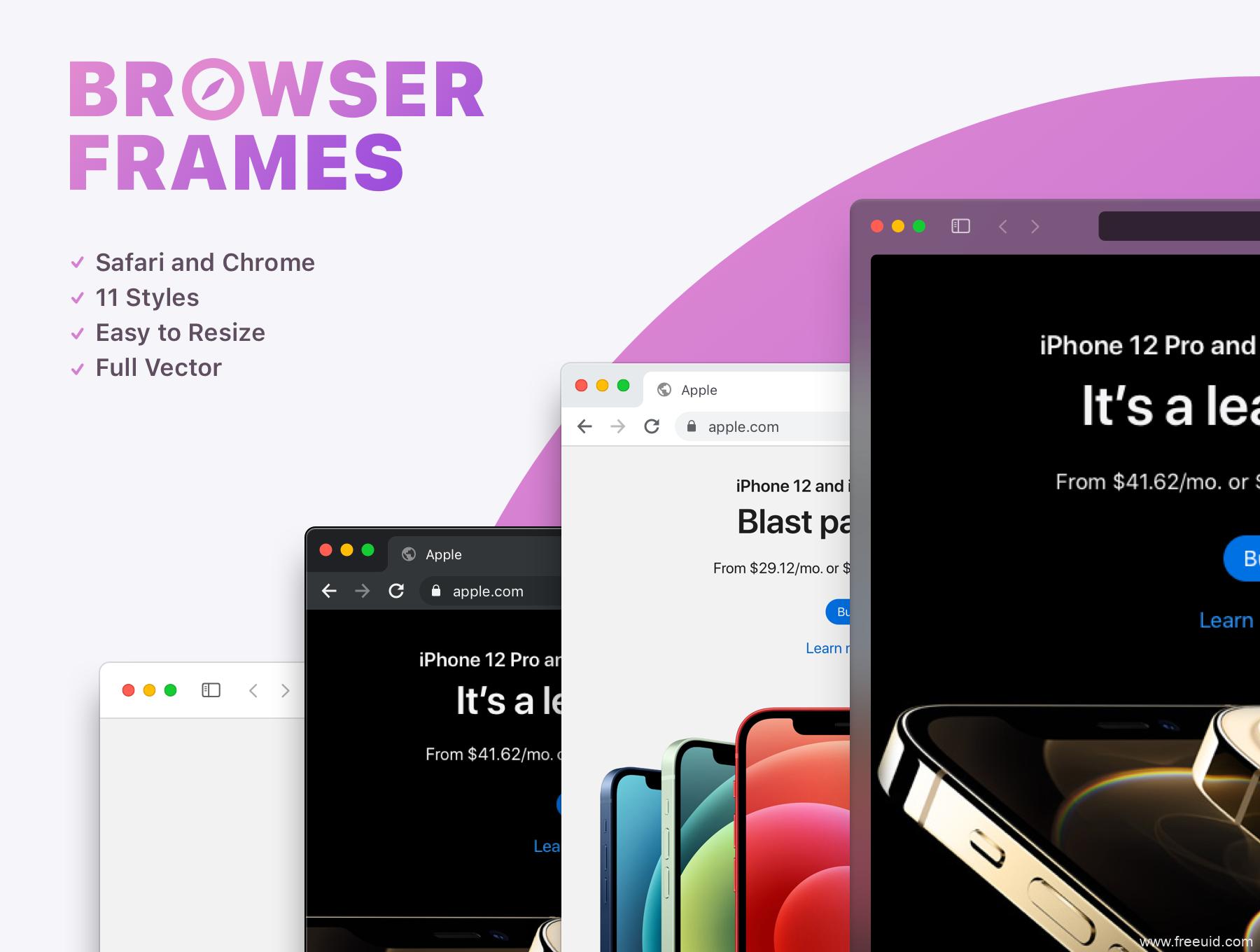 最新网页浏览器样机mockup(figma源文件)Safari 和 Chrome浏览器框架网页展示样机