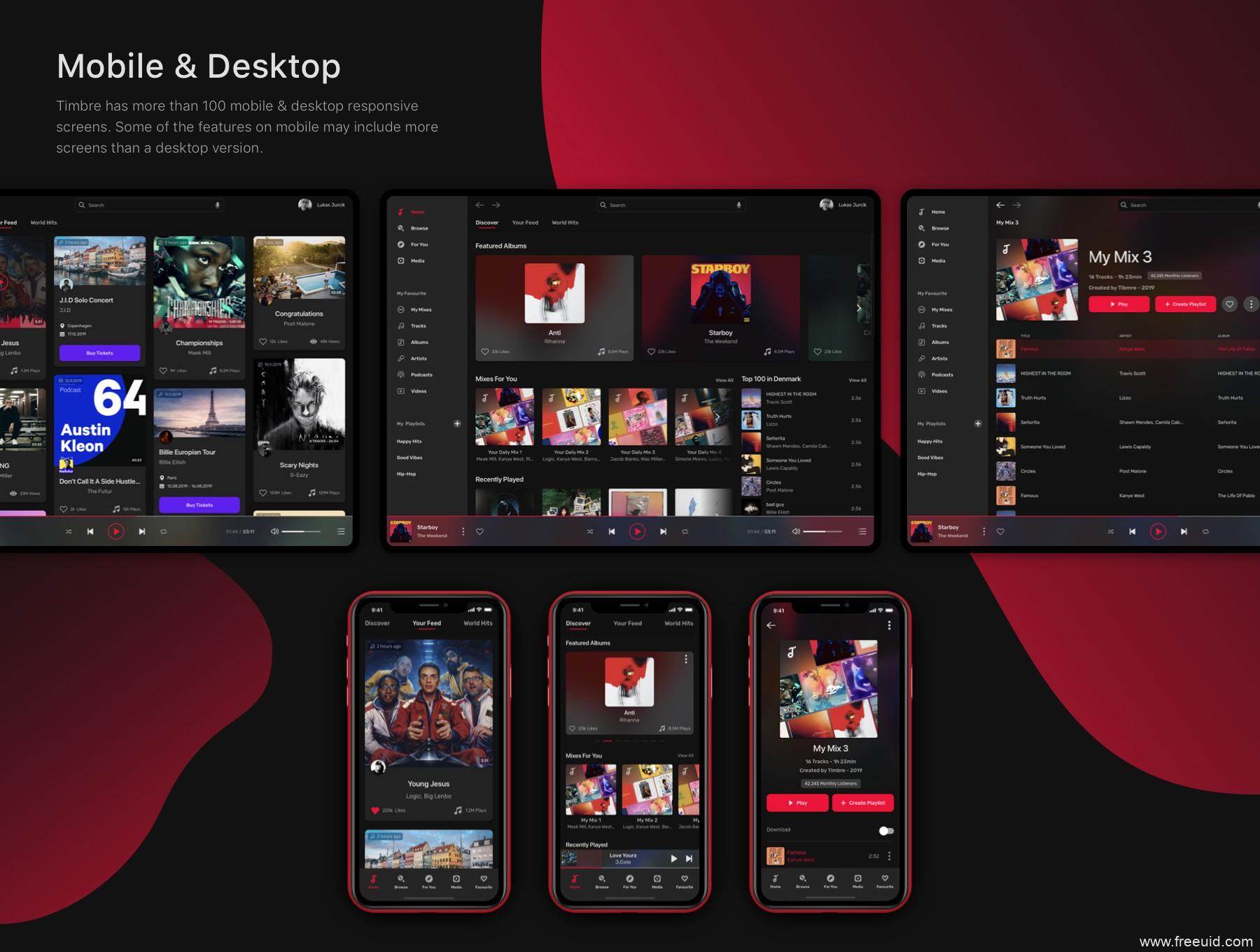 一套完整的音乐app+web端UI设计系统sketch源文件下载