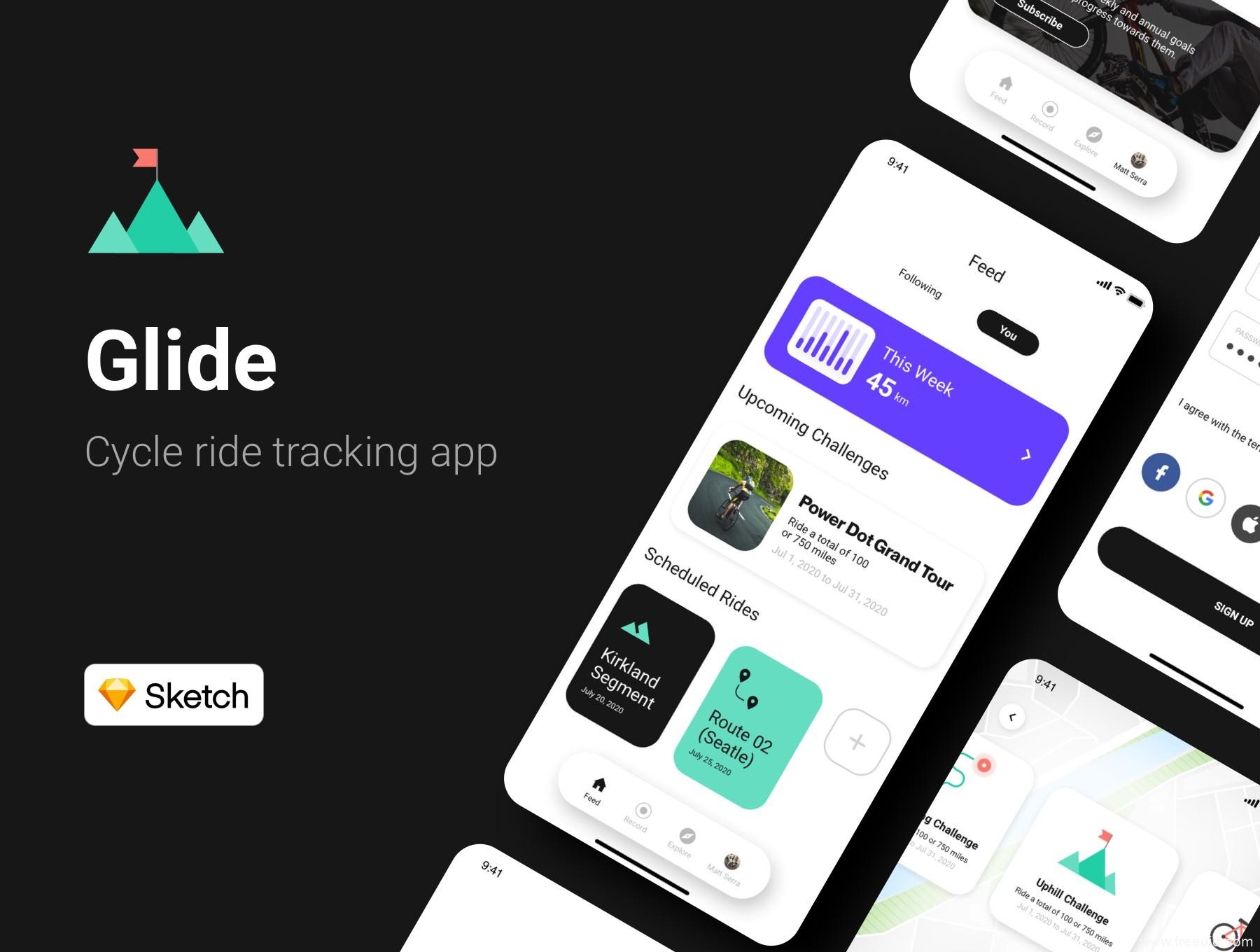 一套骑行app ui界面设计sketch源文件,自行车运动UI设计套件