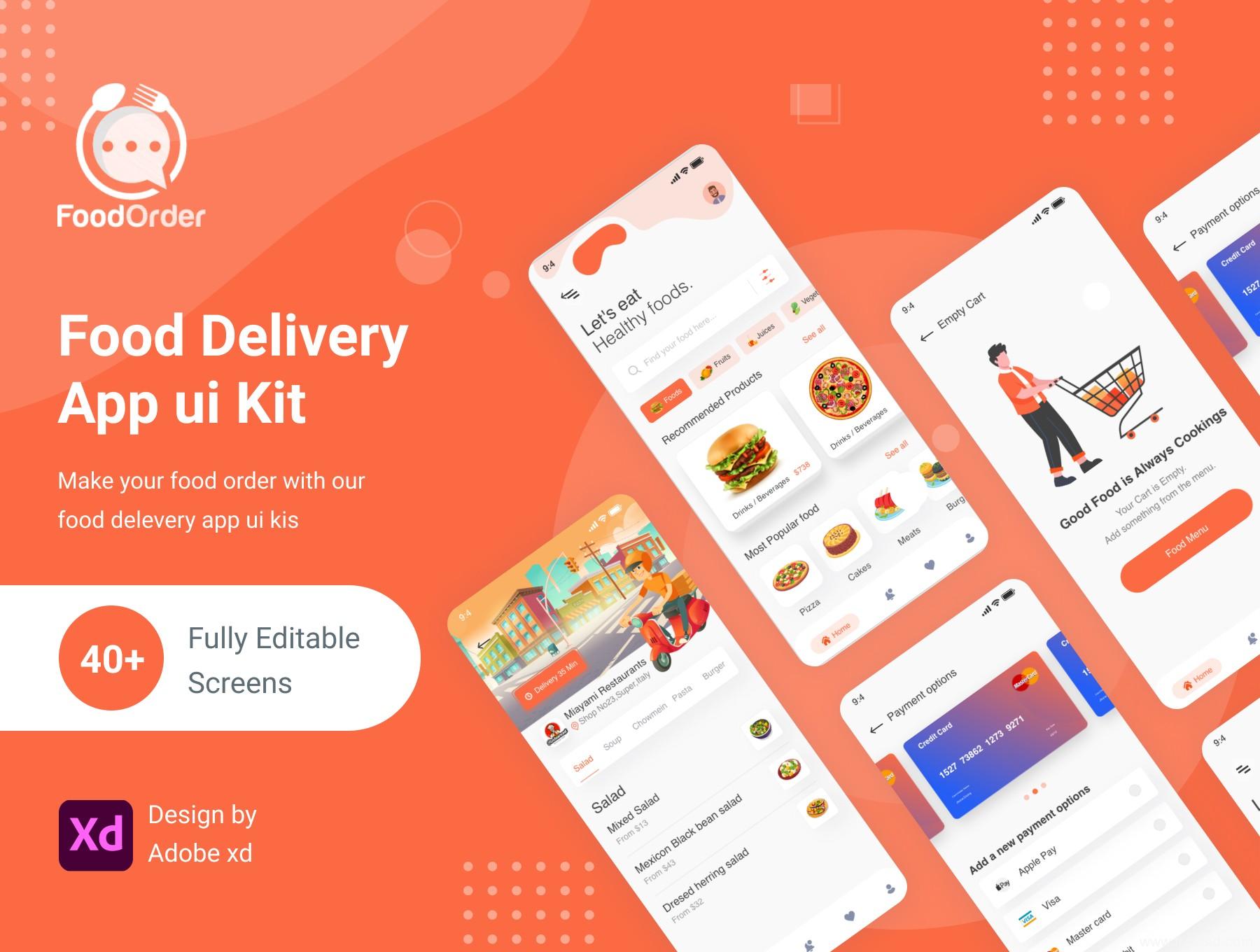 美食应用与外卖app UI界面设计套件xd源文件