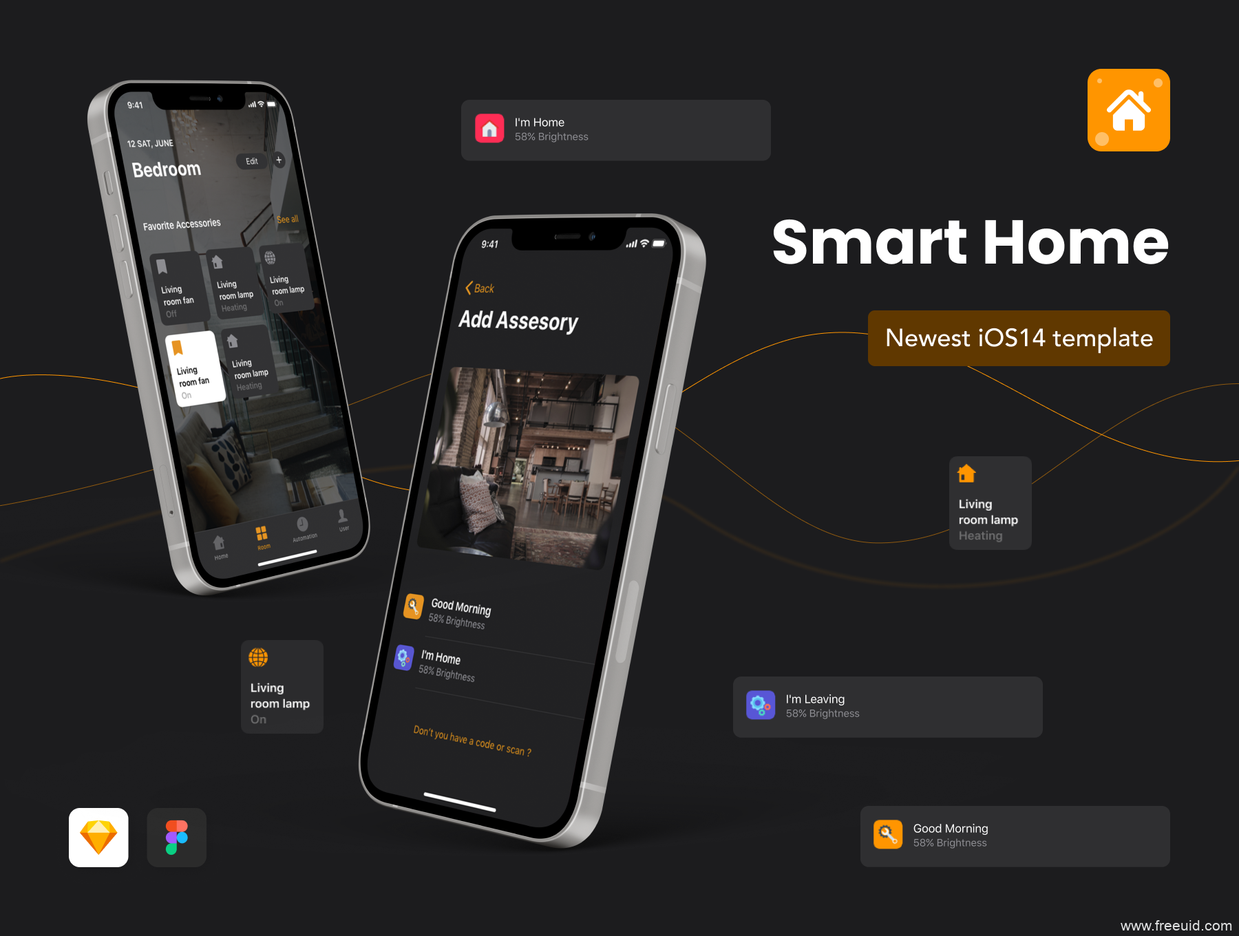 一套暗色风智能家居app UI设计应用UI kit 套装sketch/fig源文件