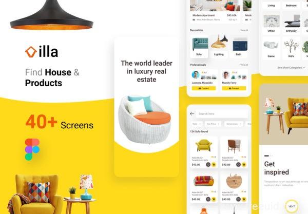 家具电商UI设计资源和房地产用户界面设计套件figma源文件